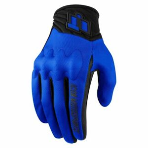 ICON - ANTHEM Motorcycle Glove - BLUE - PICK YOUR SIZE -D30 Knuckle- CE Approved