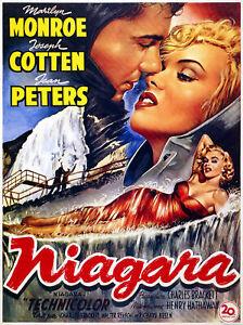 Movie Film Poster Niagara Marilyn Monroe, 50x36cm (plus border) Cotton Art Paper