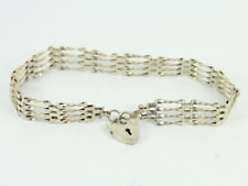 Vintage Gate Bracelet Sterling Silver Ladies Heart Padlock Clasp 925 6.7g Gg86