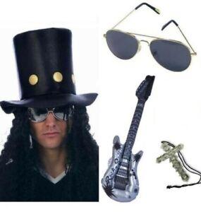 Slash Rocker Hat Wig Glasses Guitar Silver Cross Guns N Roses Fancy Dress Kit