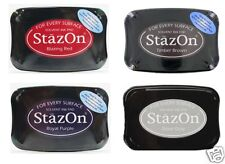 STAZON Solvent - SET OF 4 Ink PadS - Tsukineko Archival RED BROWN GRAY PURPLE