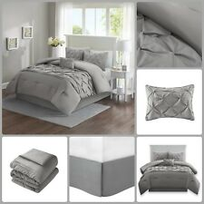 Comforter Set Full Queen Bed In A Bag Tufted Pattern Bedding Grey 5 Piece