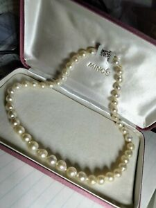 """VINTAGE MINGS NATURAL SOUTH SEA NECKLACE PEARLS 10KT CLASP 16"""" LONG NEVER WORN"""