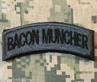 BACON MUNCHER ARMY TAB ROCKER USA MILITARY MORALE ACU DARK HOOK & LOOP PATCH