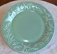 "Libbey Tableware Wheat Green Embossed  Set of 2 Dinner Plates 10 1/2"""