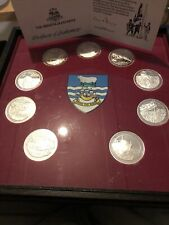 More details for 9 solid siver medals set in case mintage 2500 coins