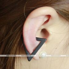 Black Hollow Triangle Ear Bone Cuff Clip On Earring Cartilage Upper Closure Gift