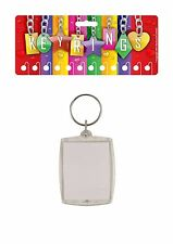 12 blank passport size photo holder keyrings,carded for retail, 35 X 45mm