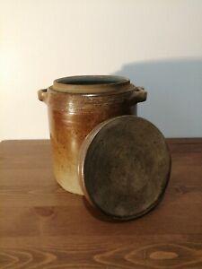 Ancien pot à graisse avec couvercle en grès vernissé n°3