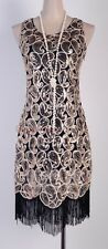 1920's Flapper Party Clubwear Gatsby Abbey Sequin & Tassel Black Dress  RR 3239