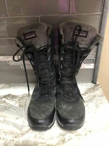 Patagonia Wintertide Women's Quilted Black/Gray Waterproof Fur Lined Boots 7.5