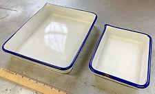 Lot Of 2 Unmarked cesco photo print developing trays Darkroom porcelain blue rim