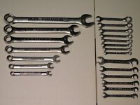 CRAFTSMAN LOT 21 PIECES SAE STANDARD COMBINATION OPEN END WRENCHES 12 POINT MINI
