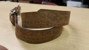Baltimore Ravens Crazy Horse Embossed Slogan Mens Leather Belt Brown Tan size 30