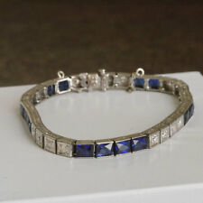 "Art Deco Antique Sapphire & Diamond Tennis 7.25"" Bracelet in 14k White Gold Over"
