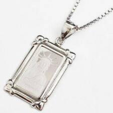 Pt999 Solid Platinum Ingot 1g Statue Liberty Mini Pendant SV925 Box Chain 17.75""