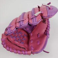 """Rawlings Girls Left Hand T-Ball Glove Softball Baseball Pink Purple 9"""" Youth"""