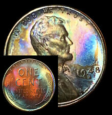 UNCIRCULATED 1948 S BU (52d) VIBRANT Rainbow MONSTER Toned Penny Wheat Cent