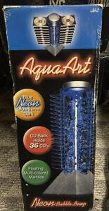 Vintage Aqua Art Lamp W/ CD Rack Tower Neon Light Bubbling Marbles Art Decor NIB