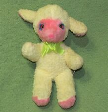 Vintage Animal Toys Plus LAMB Wooly Yellow Pink RARE Baby Nursery Plush Animal