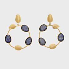 Brand New Handmade Lapis Lazuli Leaf Circle18k Gold Plated Drop Hoop Earrings