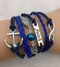 NEW Faith Infinity Owl Anchor Pearl Leather Charm Bracelet Jewelry Gift-o19