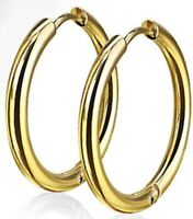 *NEW & SEALED -High Quality 14mm Gold Titanium Hoop Pair Of Earrings
