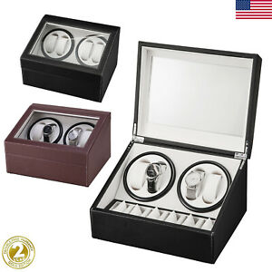 Automatic Rotation 4+6 Watch Winders Display Boxes Storage Case Organizer Silent