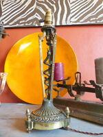 Superbe ancien pied lampe en bronze doré décor de serpent 43cm XIXème complète