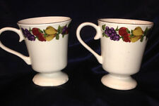 HOME AGE OF ELEGANCE PAIR OF 2 MUGS 14 OZ FRUIT ON RIM GOLD TRIM