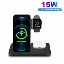 3 In 1 15W Qi Wireless Charger Stand Dock For Apple iWatch iPhone 12 Samsung S21