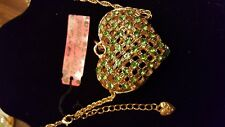 Betsey Johnson Heart Pendant Necklace, Gold Toned Lattice With Green Rhinestones