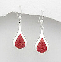 Solid Sterling Silver 36mm Red Coral Teardrop Drop Hook Dangle Earrings 1.9g