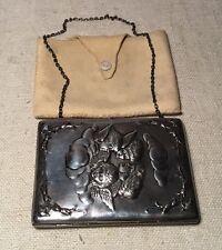 Antique English Chester Sterling Silver Cherubs Purse Case Original Pouch 1897