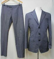 ZEGNA Men's Blue Grey Striped Cotton Single Breasted 2-Piece Suit UK38R W32 L32