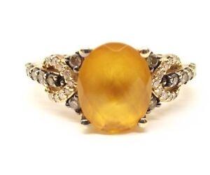 Vtg Levian 14K Gold Citrine Ring Sz 6.25 Chocolate Diamond Signed Le Vian .25tcw