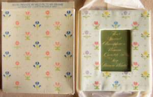"""Vintage 1982 Avon """"PRIVATE WORLD PICTURE FRAME"""" 7x6, Scotchguarded Floral - NEW!"""