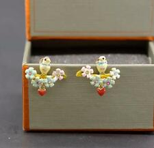 PRETTY GOLD PLATED BIRD EARRINGS by LES NEREIDES - FREE UK P&P.......CG0724