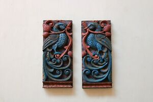 Vintage Wall Decor Peacock Wall Hanging Statue Wooden Sculpture Blue Home Decor