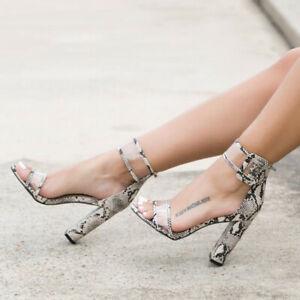 Women's Ankle Strap Buckle Heels Open Toe Block Sandals Ladies Suede Party Shoes