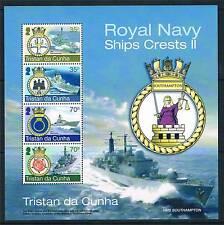 Tristan da Cunha 2012 Royal Navy Ships Crests 4v sheet SG 1058 MNH