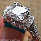3ct Estate Diamond cut White Sapphire 925 Sterling Silver Fashion Cocktail Ring