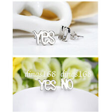 "925 Sterling Silver Shiny see-through Word ""YES"" ""NO"" 6mm Stud Post Earrings ZZ2"