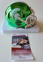RARE Carl Banks Signed Michigan State Chrome Mini Helmet JSA WITNESSED COA