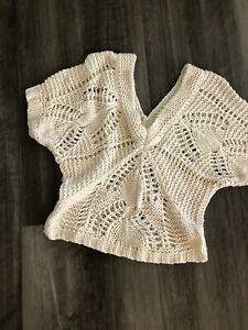 Old Navy Cropped Open Knit Sweater V-Neck Sexy Small Ivory