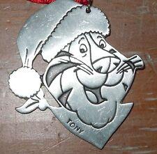 ~VINTAGE~ Kellogg's TONY THE TIGER PEWTER Christmas ornament Happy Holidays 1995