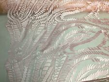 Pink  Wild Amazon Leaf Design Embroider On A Nude Mesh Lace Fabric-By The Yard-