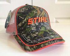 Stihl Mossy Oak Camo Fabric and Grey Mesh Back Hat Cap w Cool Details
