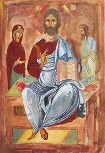Vintage religious gouache painting Jesus Christ Virgin Mary