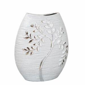 Hestia Silver Electroplate Tree Oval Ceramic Vase 24cm